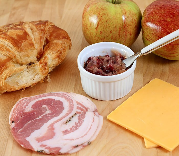 Ingredients for the Cheddar, Pancetta, and Apple Grilled Cheese on Croissant