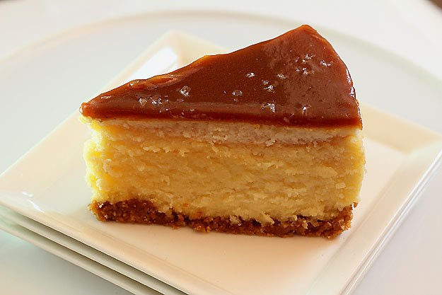White Chocolate Mascarpone Cheesecake with Salted Caramel