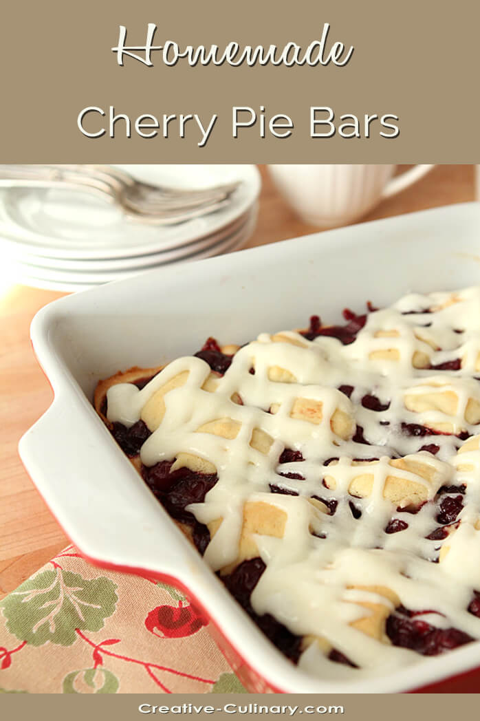 Cherry Pie Bars in a Red and White Baking Dish