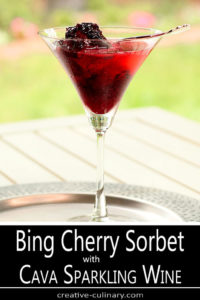 Wine Glass of Bing Cherry Sorbet with Cava Sparkling Wine