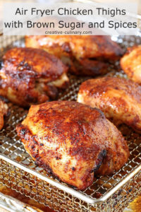 Air Fryer Chicken Thighs with Brown Sugar and Spices On Oven Fryer Tray