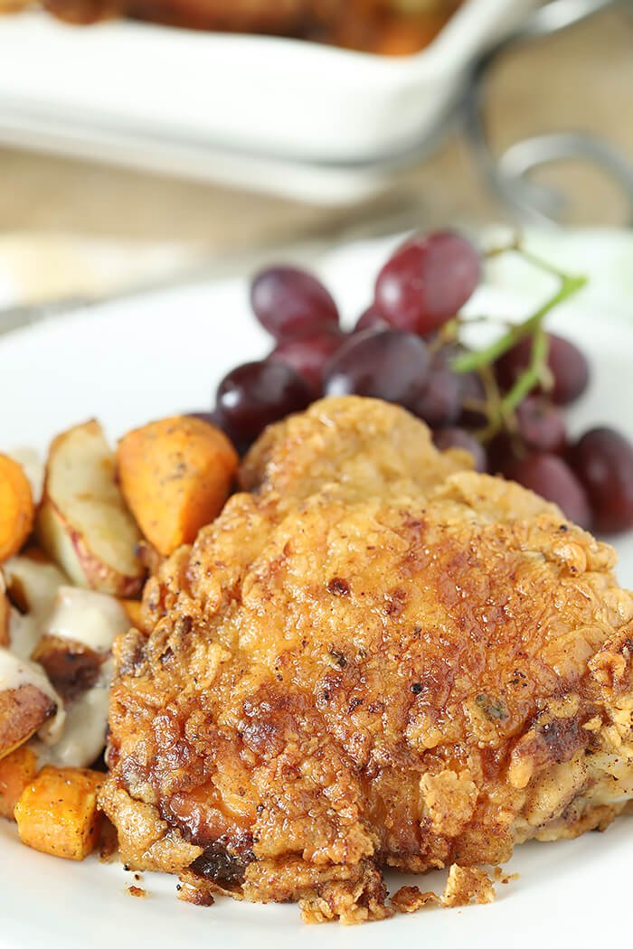 Closeup of Old Fashioned Buttermilk Pan Fried Chicken