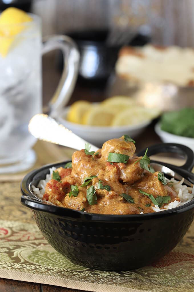 Easy Chicken Curry Served in Black Bowl