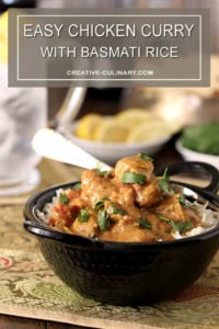This Easy Chicken Curry is Served in a Black Bowl and Garnished with Parsley
