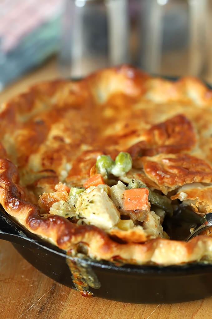 Chicken Pesto Pot Pie with Carrots, Peas, and Pesto