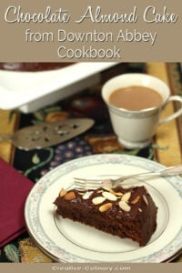 Slice of Chocolate Almond Cake with Sour Cream Frosting