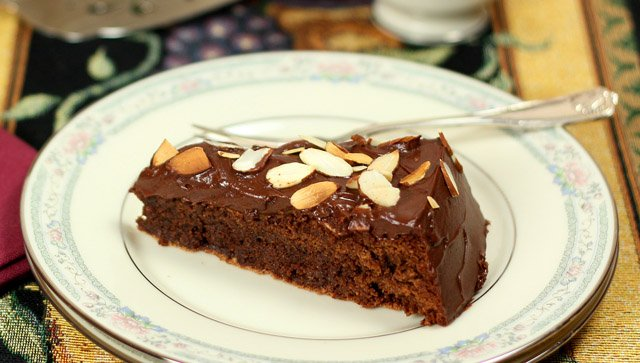 Chocolate Almond Cake with Sour Cream Frosting