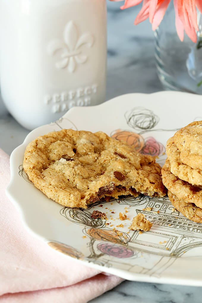 Barbara Bush's Famous Chocolate Chip Cookies; One Half Eaten on a Plate