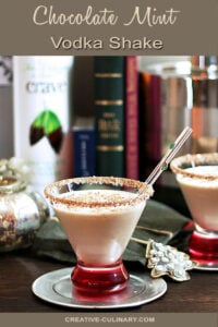 Chocolate Mint Vodka Shake in Lowball Glass with Red Base