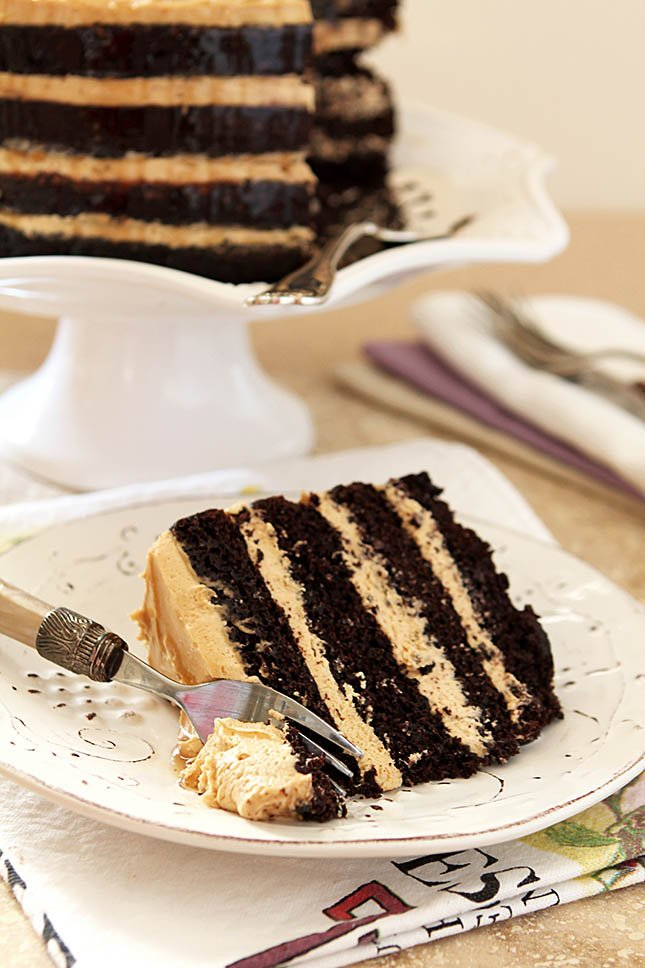 Espresso Chocolate Cake with Peanut Butter Frosting