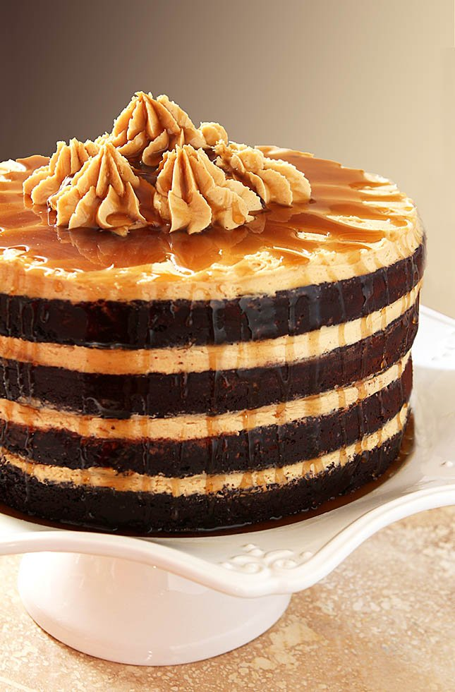 Espresso Chocolate Cake with Peanut Butter Frosting on a White Cake Plate