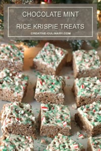 Two Chocolate Mint Rice Krispie Treats Drizzled with White Chocolate Frosting