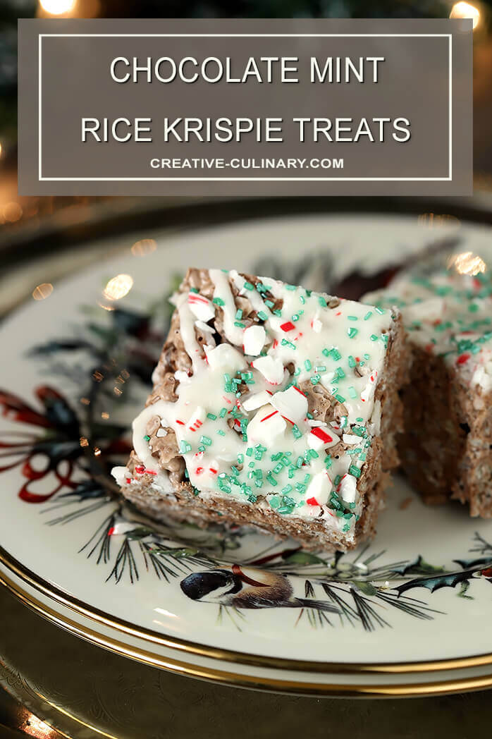 Two Chocolate Mint Rice Krispie Treats on a Holiday Plate