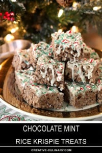 Chocolate Mint Rice Krispie Treats Stacked on a Plate