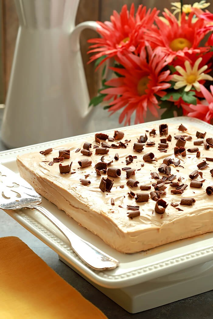 Argentina's Chocotorta Dessert on a Square White Cake Stand