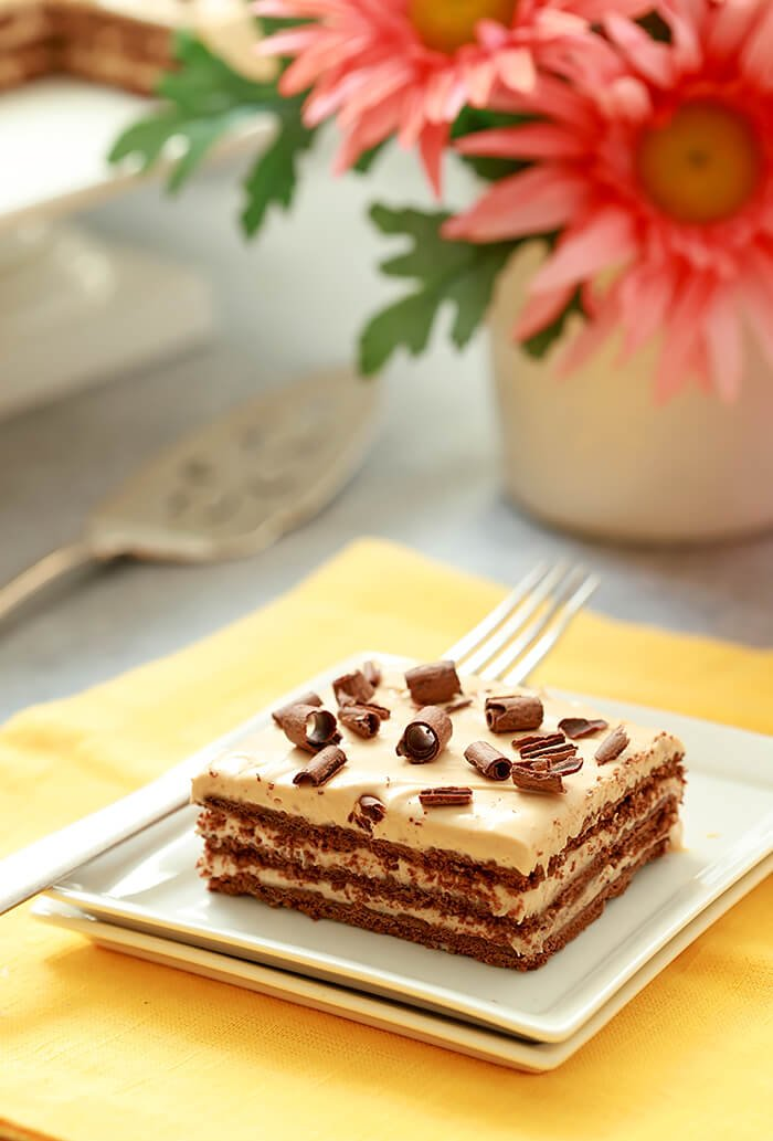 Argentina's Chocotorta Dessert Served on a Square White Plate with Chocolate Curls