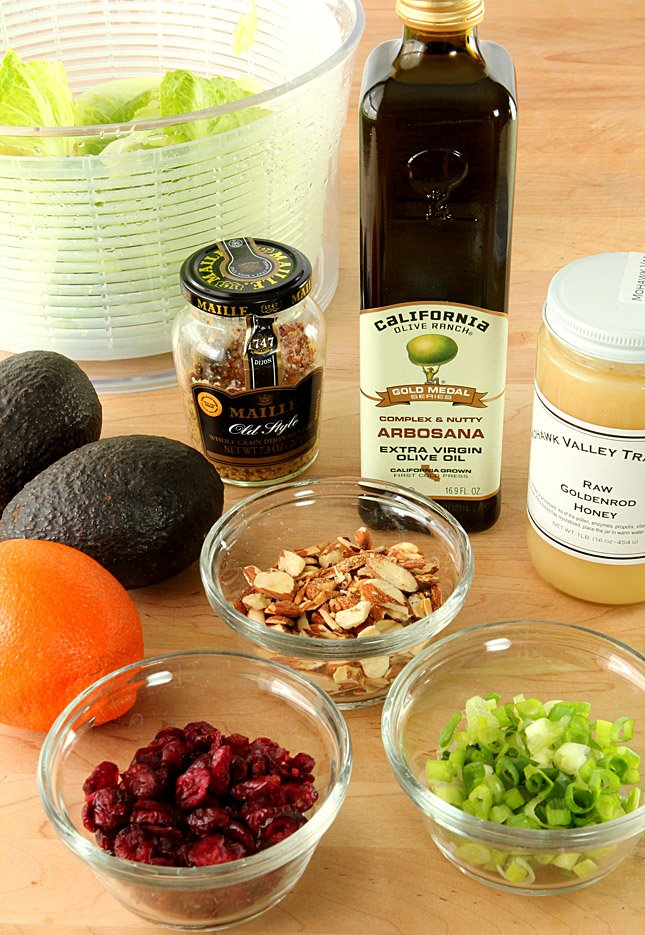 Chopped Salad with Avocado and Orange with an Orange Honey Mustard Dressing - the ingredients.