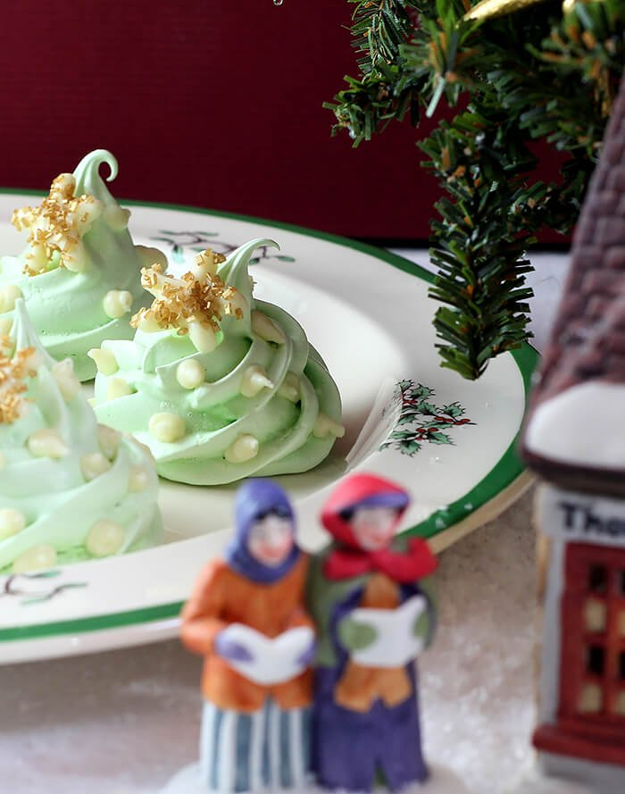 Christmas Tree Meringue Cookies on Holiday Plate in Dickens Scene