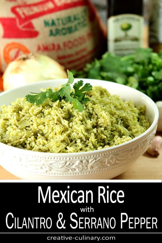 Cilantro and Serrano Pepper Mexican Rice Served in a White Serving Bowl