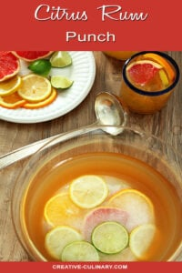 Citrus Rum Punch in Punchbowl with Citrus Ice Ring