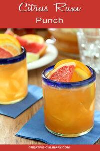 Citrus Rum Punch in Glasses with Blue Rim
