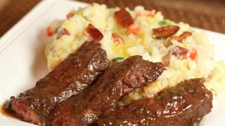 Cabbage and Bacon Colcannon with Irish Whiskey Steak