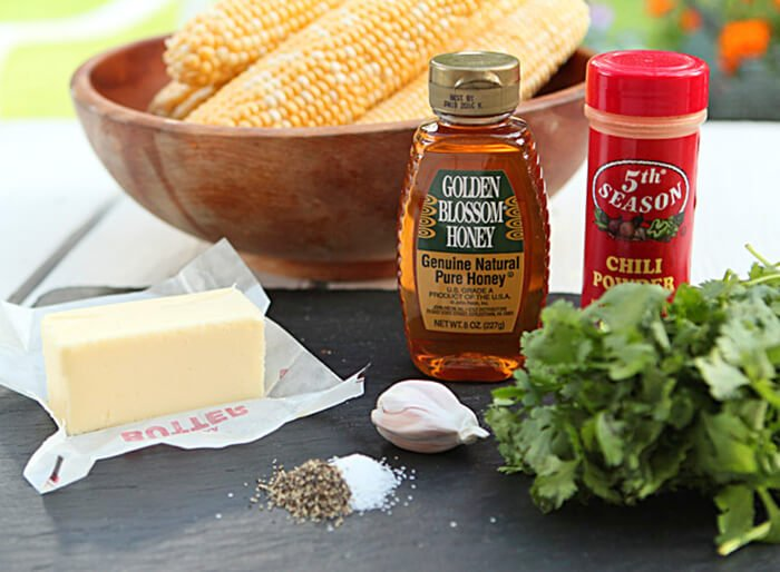 Cilantro, Honey, and Chile Corn on the Cob Ingredients