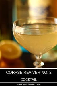 Closeup of Corpse Reviver No 2 Cocktail in Couple Glass