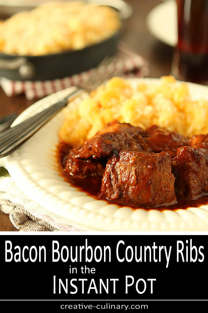 Country Pork Ribs with a Bacon and Bourbon BBQ Sauce Served with Macaroni and Cheese