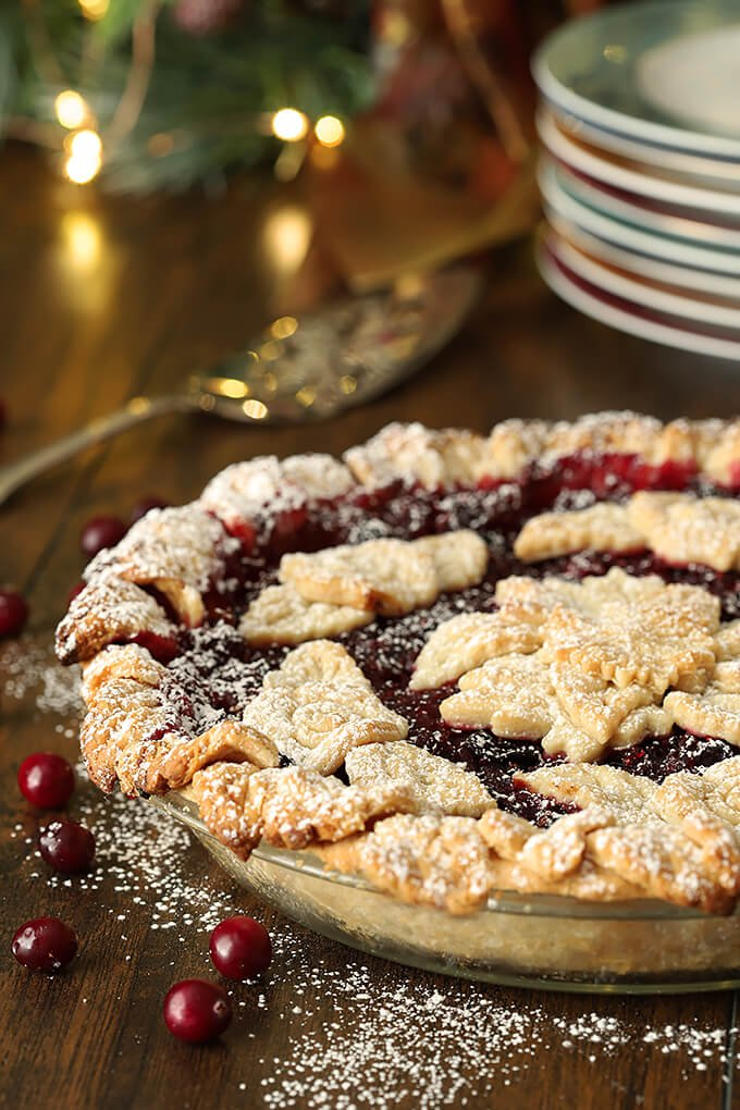 Cranberry Apple Pie with Grand Marnier Whipped Cream Decorated with Cookie Shapes