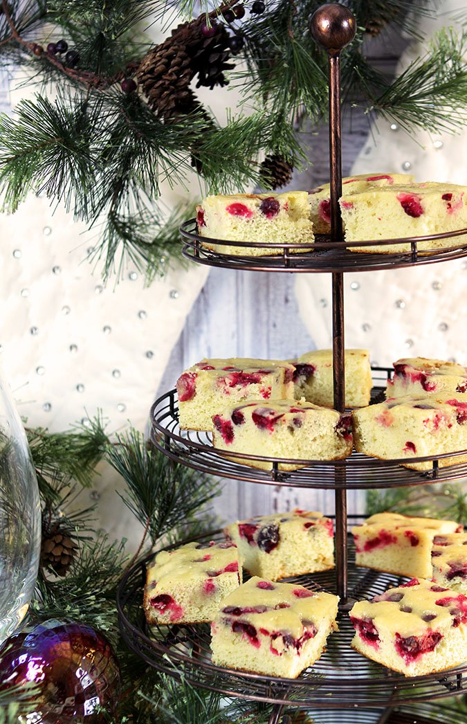 Cranberry Cake with Warm Butter Rum Sauce and Sugared Cranberries