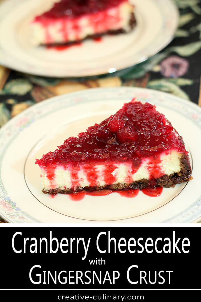Cranberry Cheesecake with Gingersnap Crust Served on a White China Plate