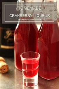 Homemade Cranberry Liqueur Served in a Liqueur Glass