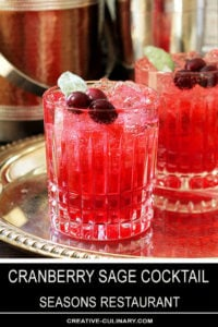 Cranberry Sage Cocktails Served on a Silver Tray