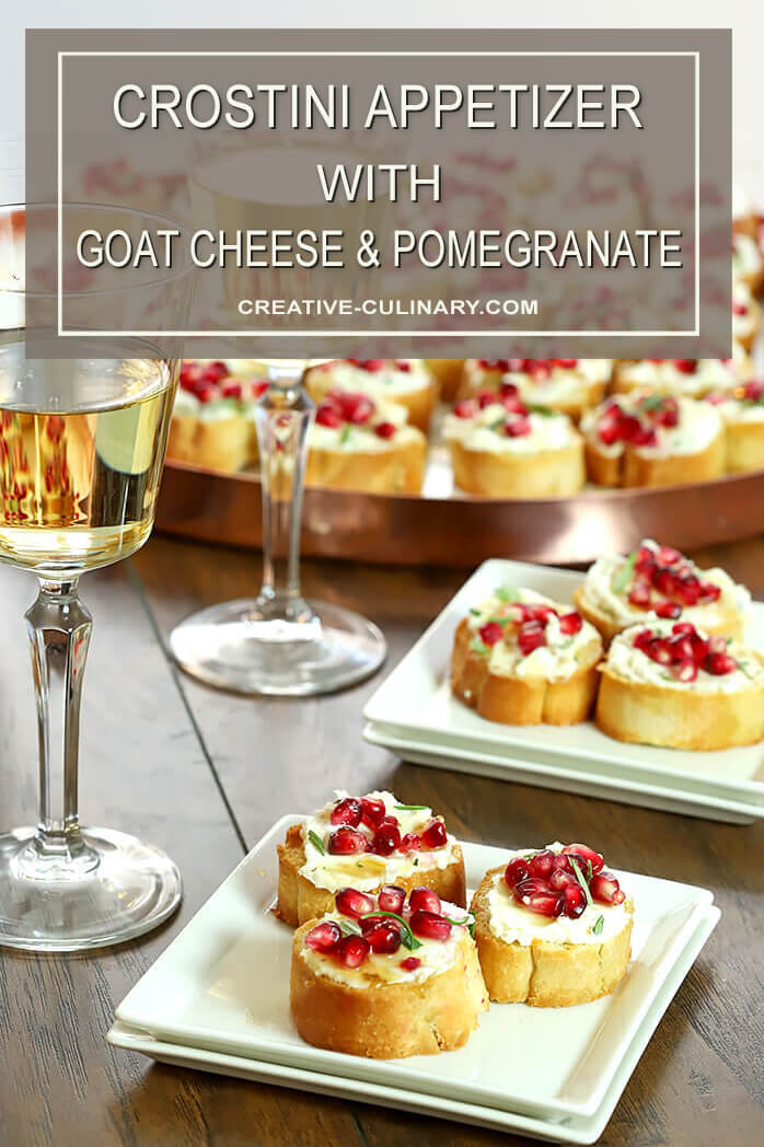Crostini with Goat Cheese and Pomegranate on a White Square Plate with White Wine