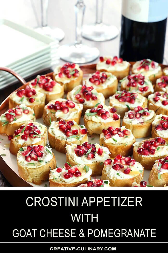 Crostini with Goat Cheese and Pomegranate on a Marble and Copper Serving Tray