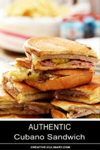 Cubano Sandwich Cut and Stacked on Plate