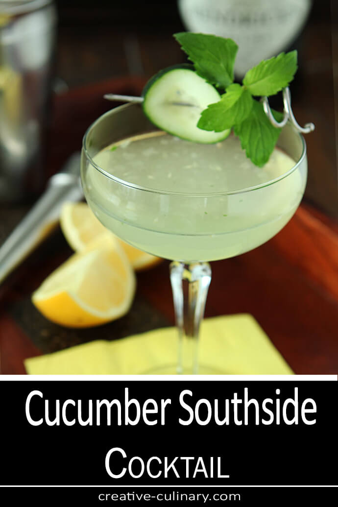 Cucumber Southside Cocktail with Gin, Cucumber, and Mint Served in a Coupe Glass with Cucumber and Mint Garnish