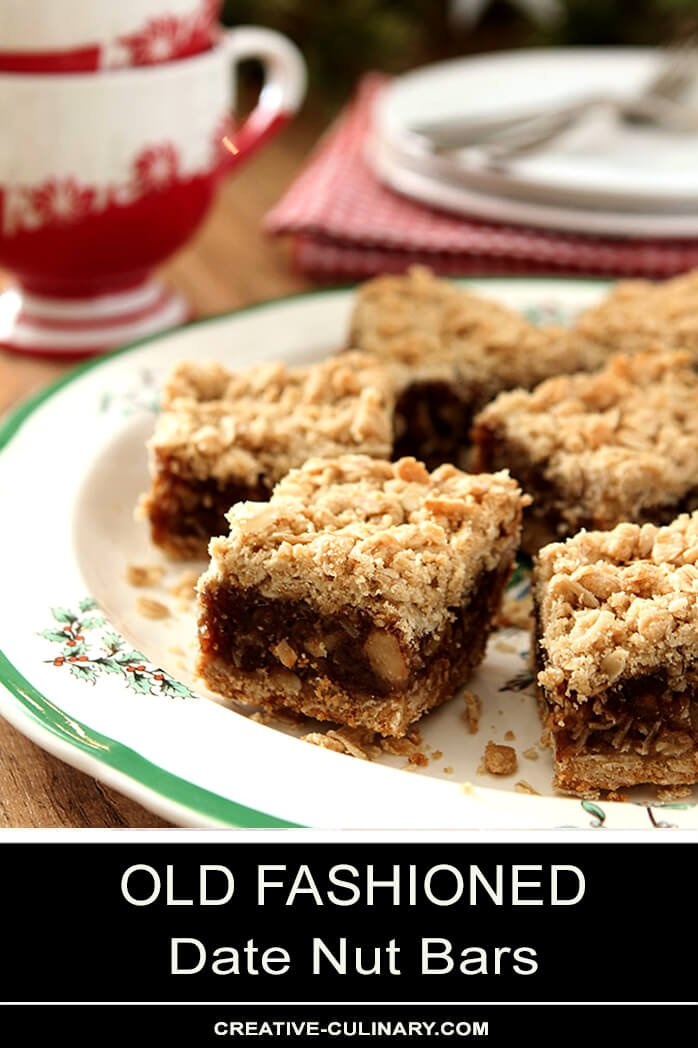Date Nut Bars on Holiday Plate with Coffee Cups in Background.