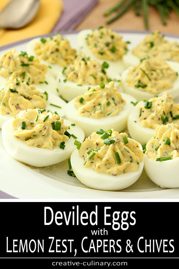 Deviled Eggs with Lemon Zest, Capers, and Chives PIN