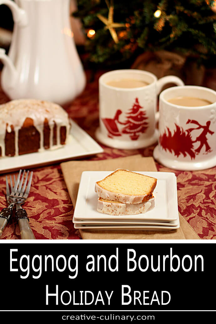 Eggnog and Bourbon Bread Loaf with Slices on a Square White Plate and Cups of Coffee