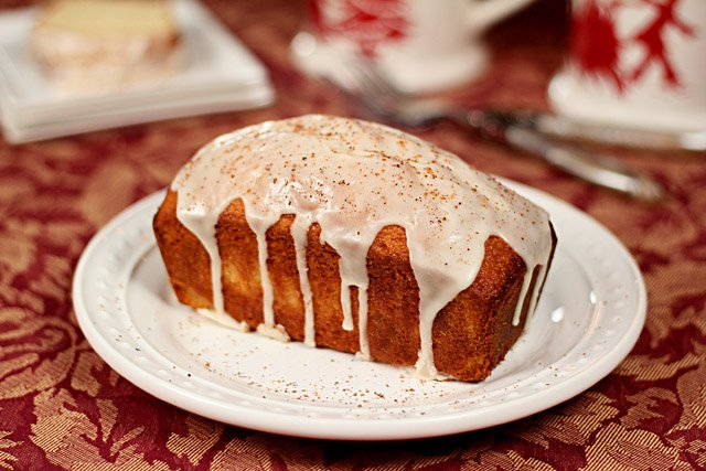 Eggnog and Bourbon Holiday Bread Loaf Served with a Icing Drizzle