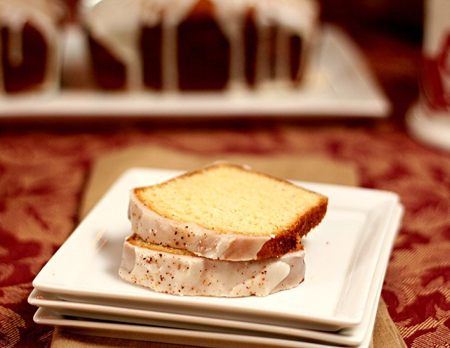 Eggnog and Bourbon Bread Loaf Sliced and Served in Square Plates