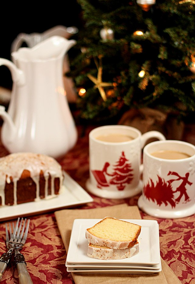Eggnog and Bourbon Holiday Bread Served with Coffee in Holiday Mugs
