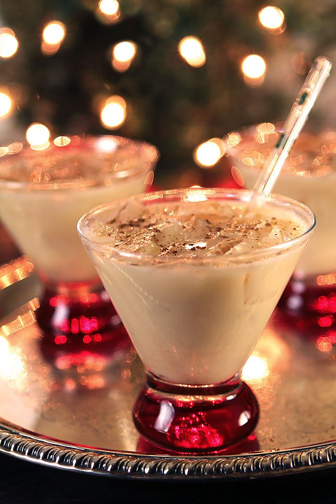 Eggnog Cocktail with Frangelico Served with a Glass Straw