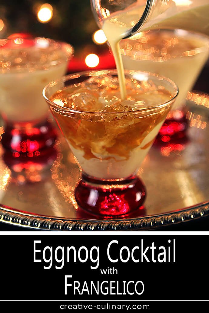 Eggnog Cocktail with Frangelico with Drink Being Poured