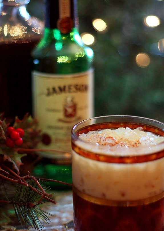 Eggnog Kahlua and Irish Whiskey Cocktail