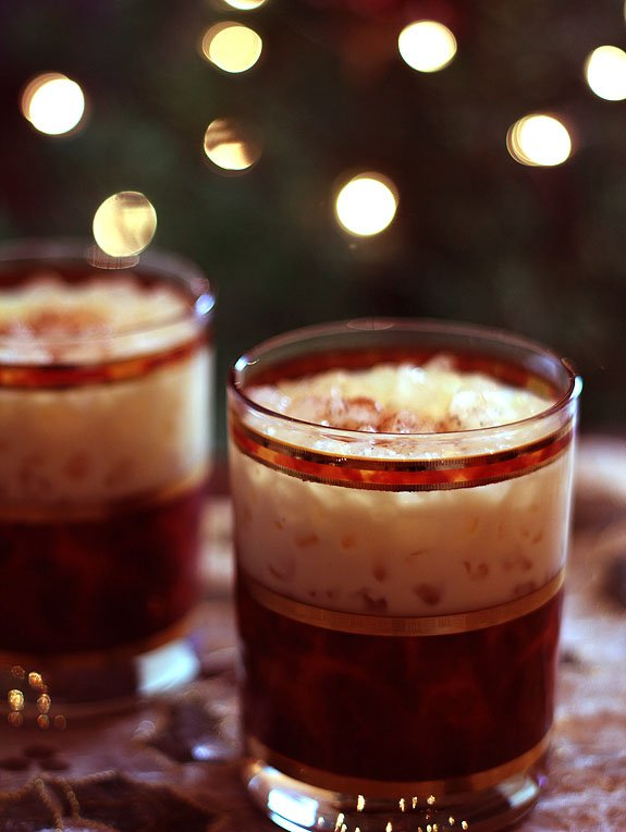 Eggnog Kahlua and Irish Whiskey Cocktails in Tortoise Shell Glasses