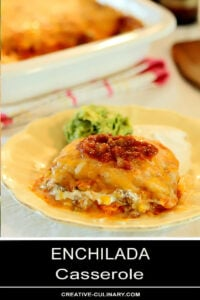The Best Enchilada Casserole Served on a Yellow Plate