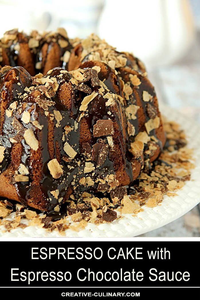 Espresso Cake with Espresso Chocolate Sauce Finished with Bahlsen Waffeletten wafers on a Tiffany cake plate.